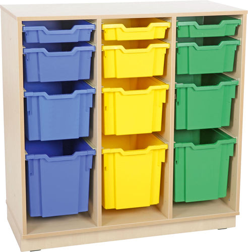 L cabinet for plastic container - 3 rows with Legs