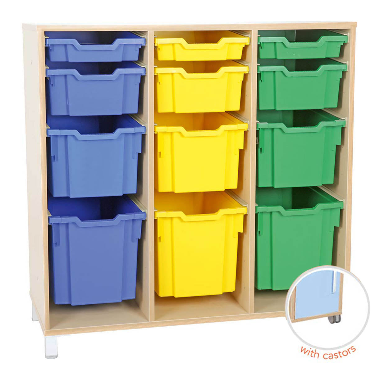 L cabinet for plastic container - 3 rows with castors
