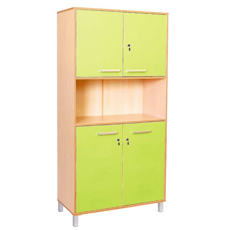 Classic High Cabinet with Green Doors and Locks