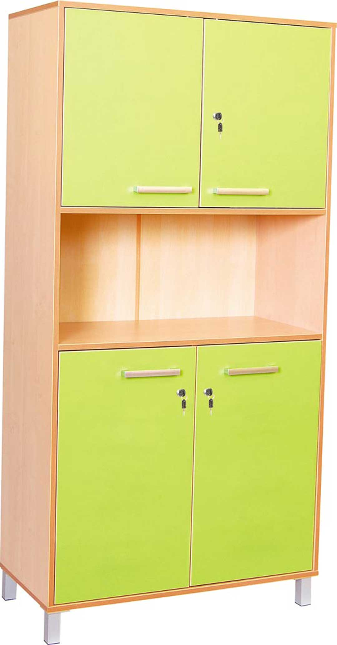 Classic High Cabinet with doors and locks - Green Doors