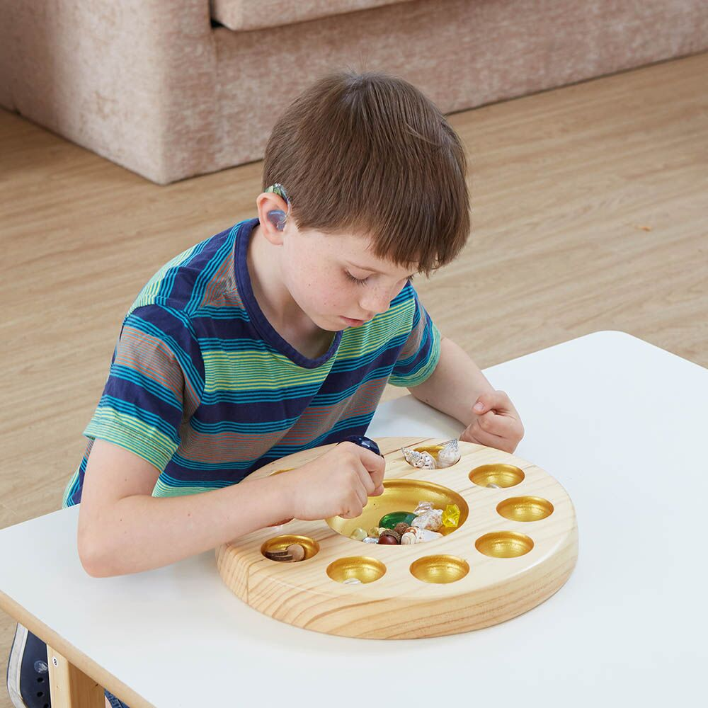 Sensory Wooden and Metallic Sorting Bowl