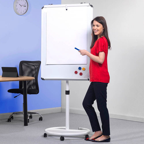 Mobile Presentation Whiteboard and Flipchart Red