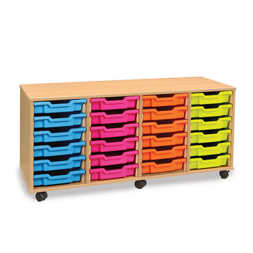 24 Shallow Tray Storage Unit Mobile Unit With Tray Storage Units   for classroom storage