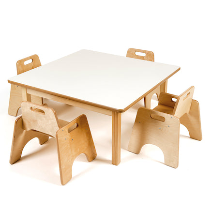 Toddler Square Table H380mm and Four Chairs