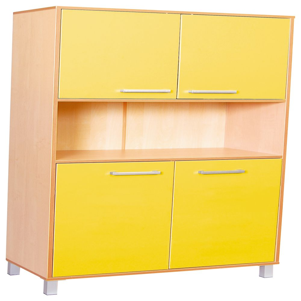 Premium high cabinet with doors - Yellow