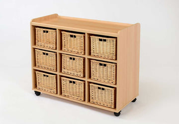 9 Basket Unit with Wicker Baskets