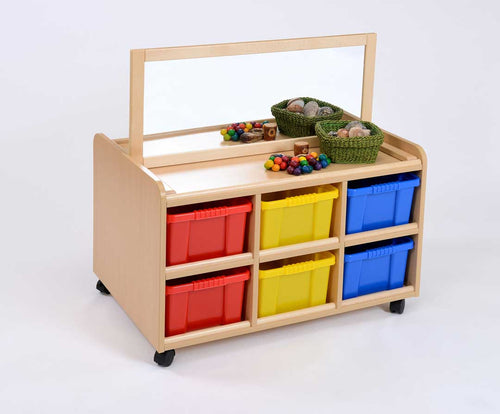 D/S Storage Unit, Mirror & Multicoloured trays