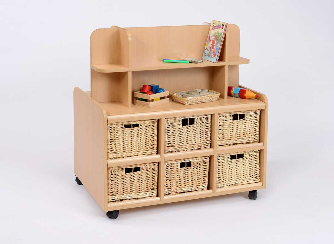 D/S Storage Unit With Display/Mirror & Deep Baskets