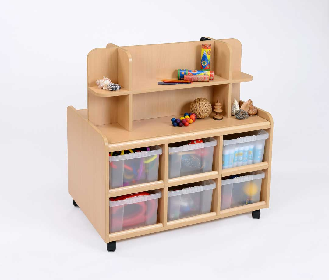 D/S Storage Unit With Display/Mirror & Clear Trays