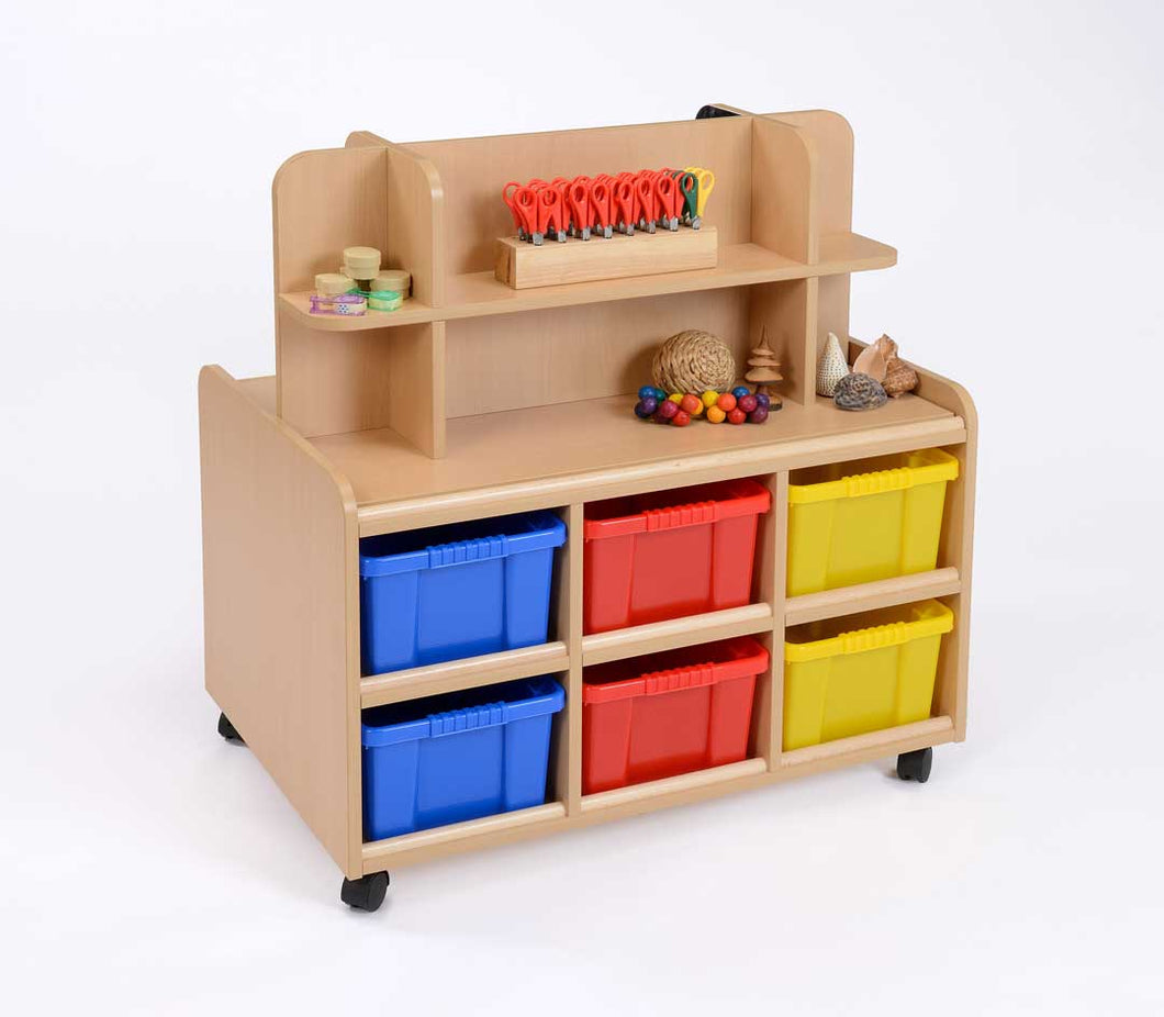 D/S Storage Unit With Display/Mirror & Multicoloured Trays