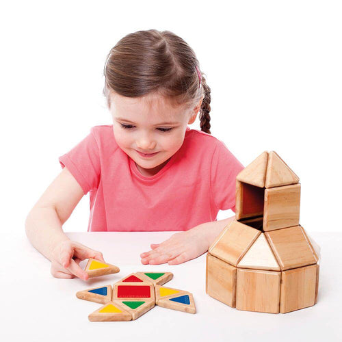 Wooden Magnetic Polydron Shapes 32pk