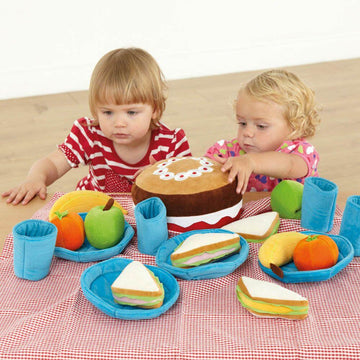 Soft Role Play Picnic Basket with Fabric Food