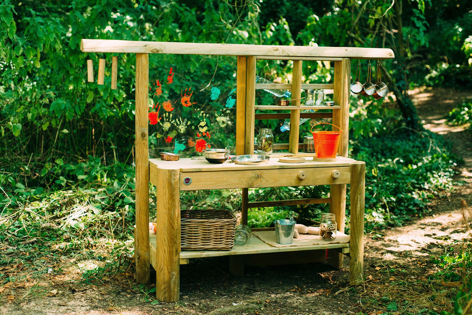 Wooden Outdoor Mud Kitchen with pots and pans