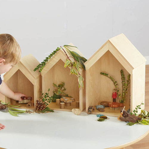 Nesting Wooden Small World Houses 3pk