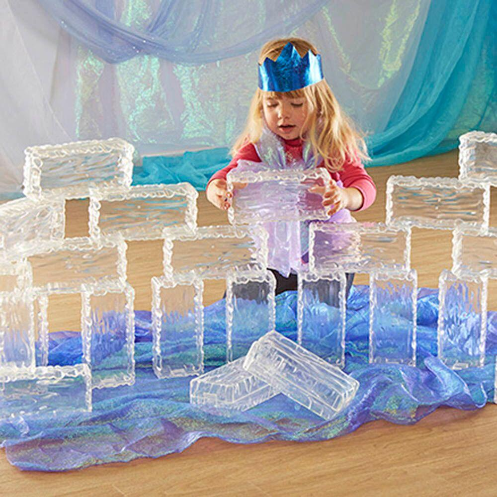 Glacier Effect Clear Plastic Bricks 25pk