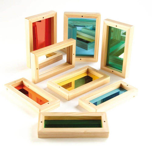 Wooden Framed Coloured Mirrors for Babies 8pk