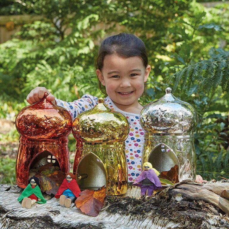 Metallic Small World Fairy House 3pk