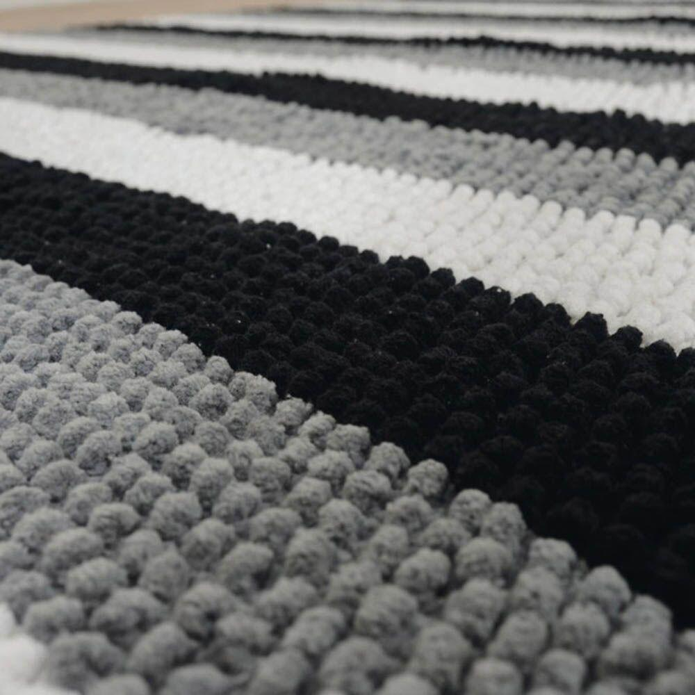 Black and White Cosy World Carpet L195 x W136cm