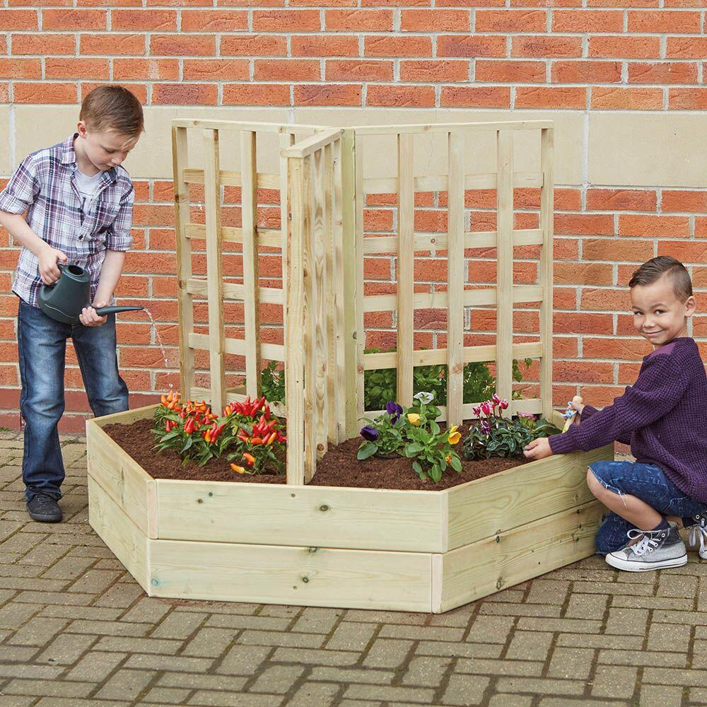 Square Wooden Planter with Trellis