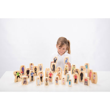 Wooden Community People Blocks - 32pk
