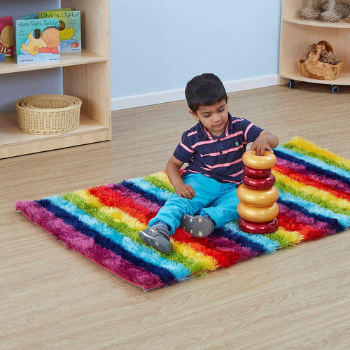 Rainbow Striped Soft Rug