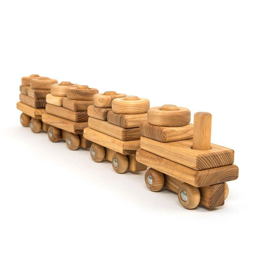Wooden Toddler Train with Building Blocks