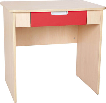 Quadro - white desk with wide drawer - red