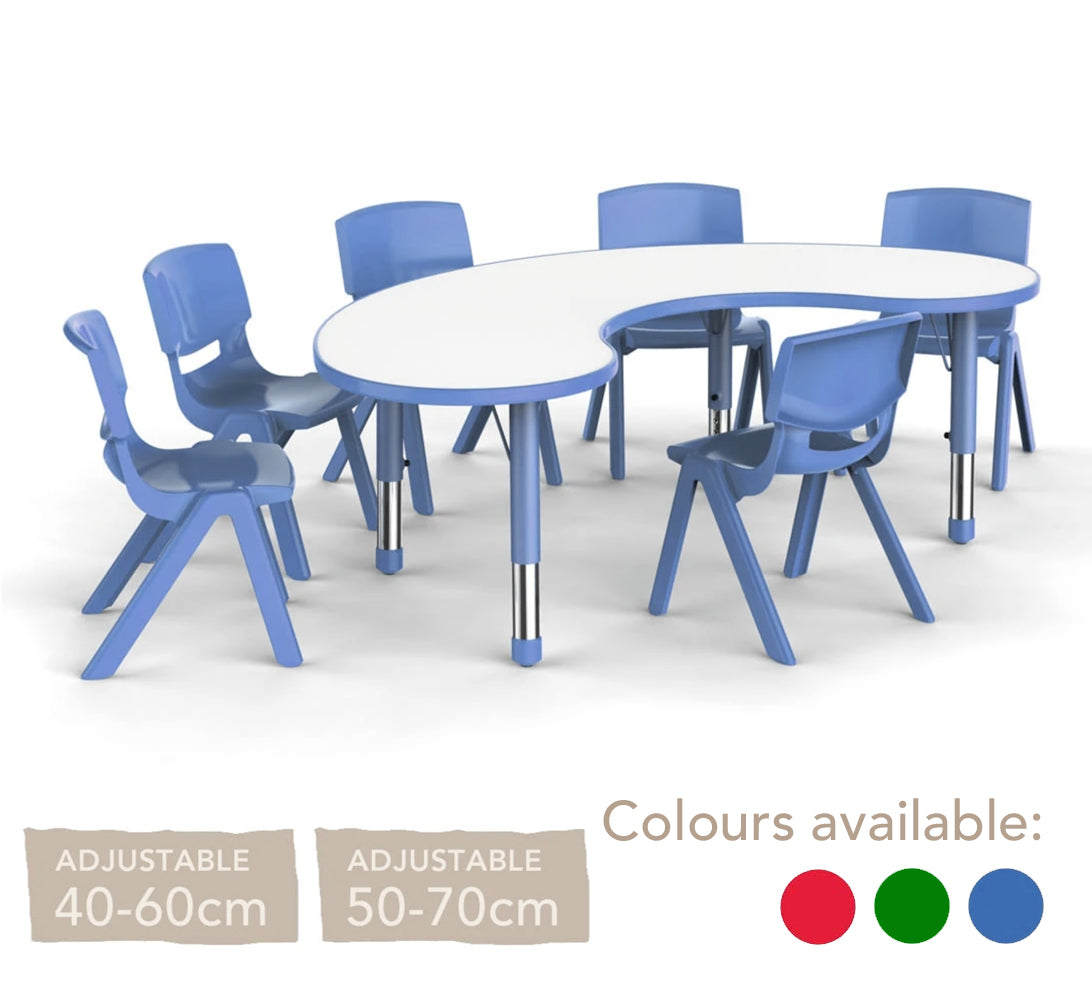 Adjustable Horseshoe Polyethylene Table with Orchid White Top - All Heights and Colours