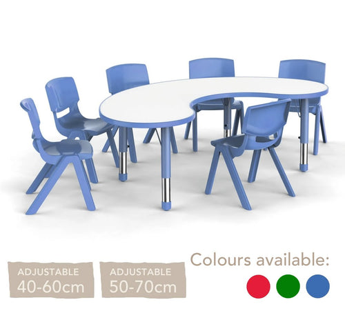 Adjustable Polyethylene Horseshoe Table With White Table Top And Chairs - All Heights And Colours
