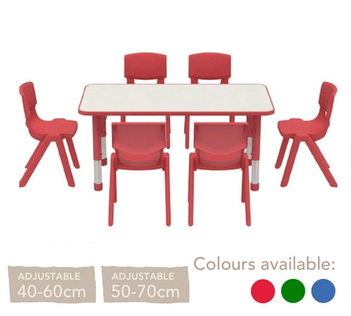 Adjustable Rectangular Polyethylene Table with Orchid White Top - All Heights and Colours