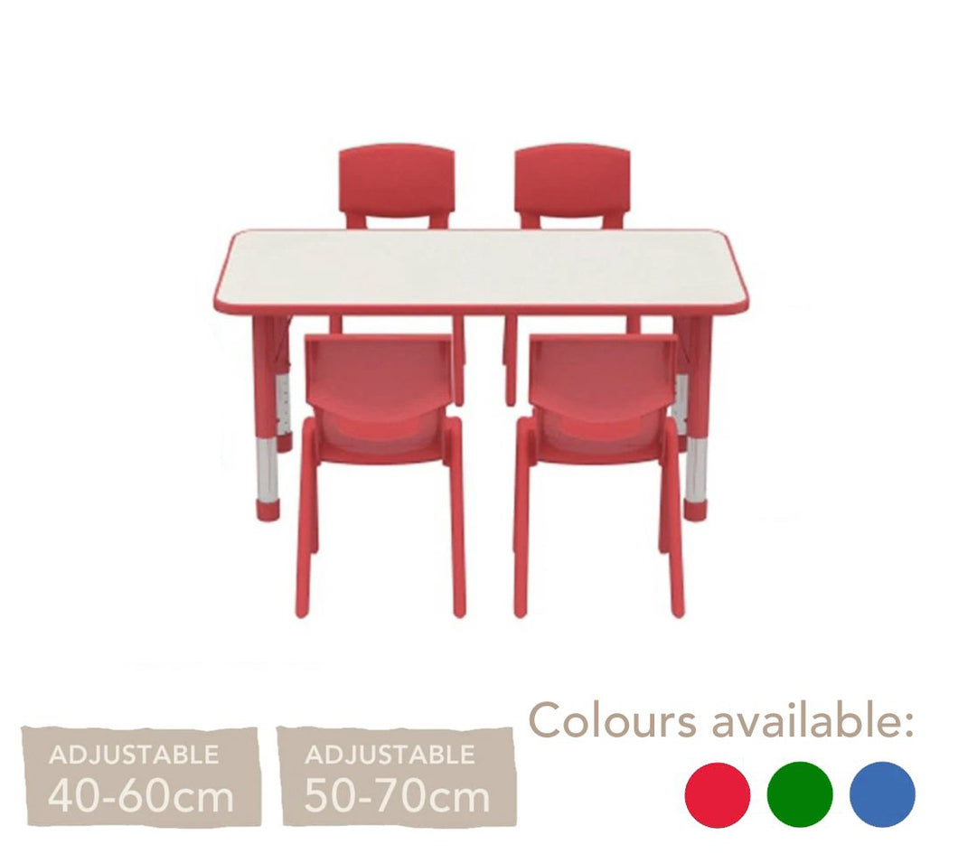 Adjustable Polyethylene Rectangular Table With White Table Top and Chairs - All Heights and Colours