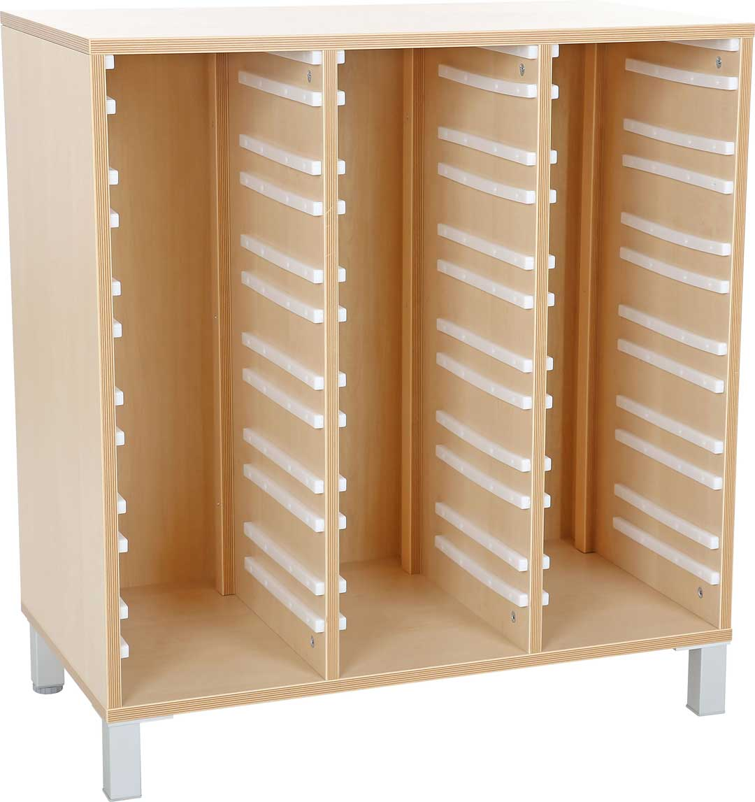 M Cabinet for Plastic Containers 3 Rows with Legs