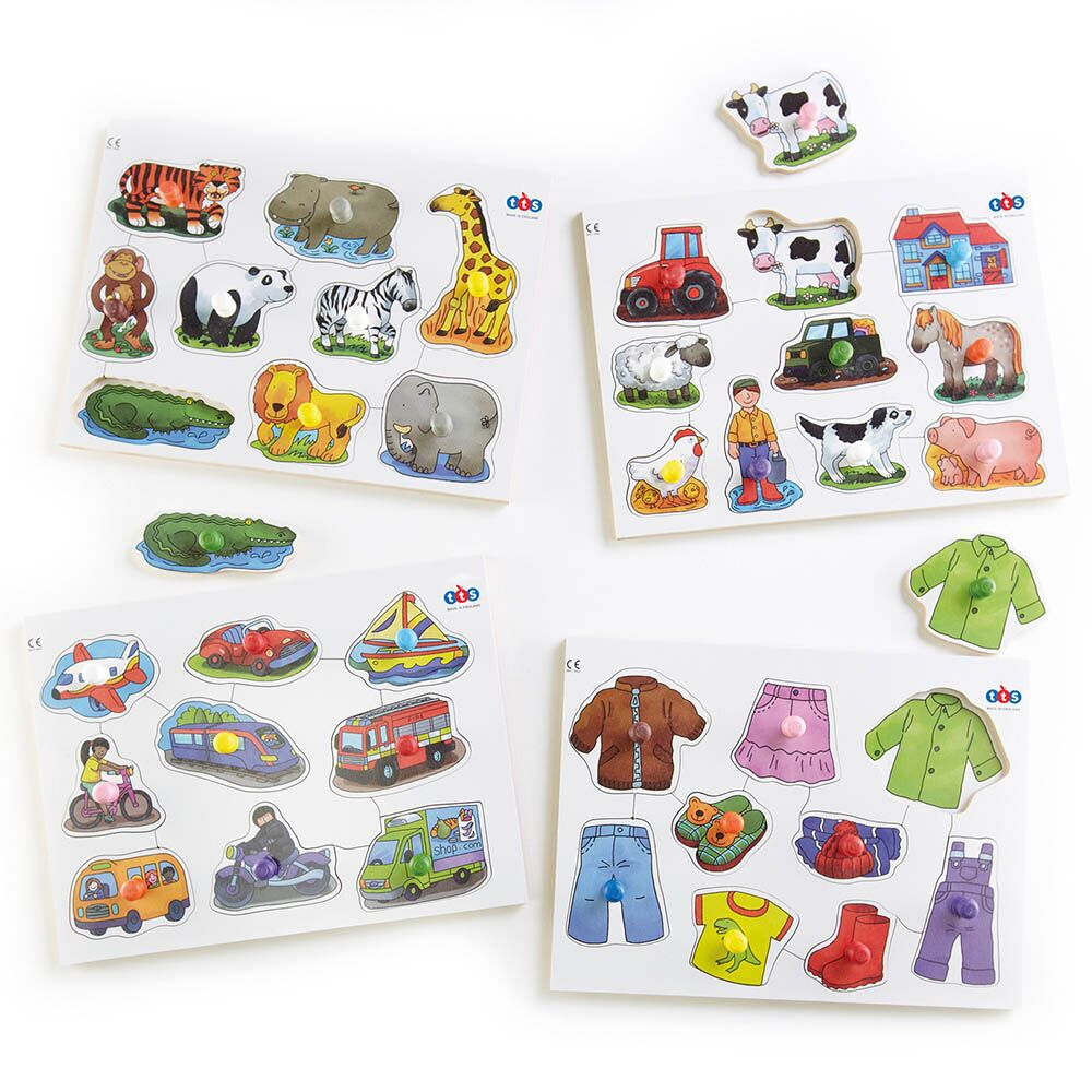 Wooden Large Peg Puzzles 4pk