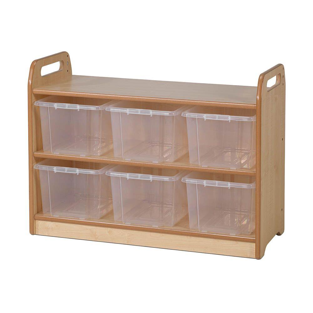 Playscapes Shelf With Back H66 x 90cm 6 Clear Tubs