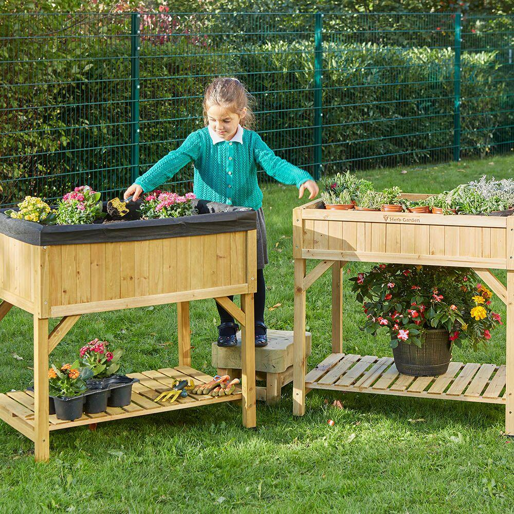 Raised Bed Planter Natural Wood H80 x W78 x D58cm