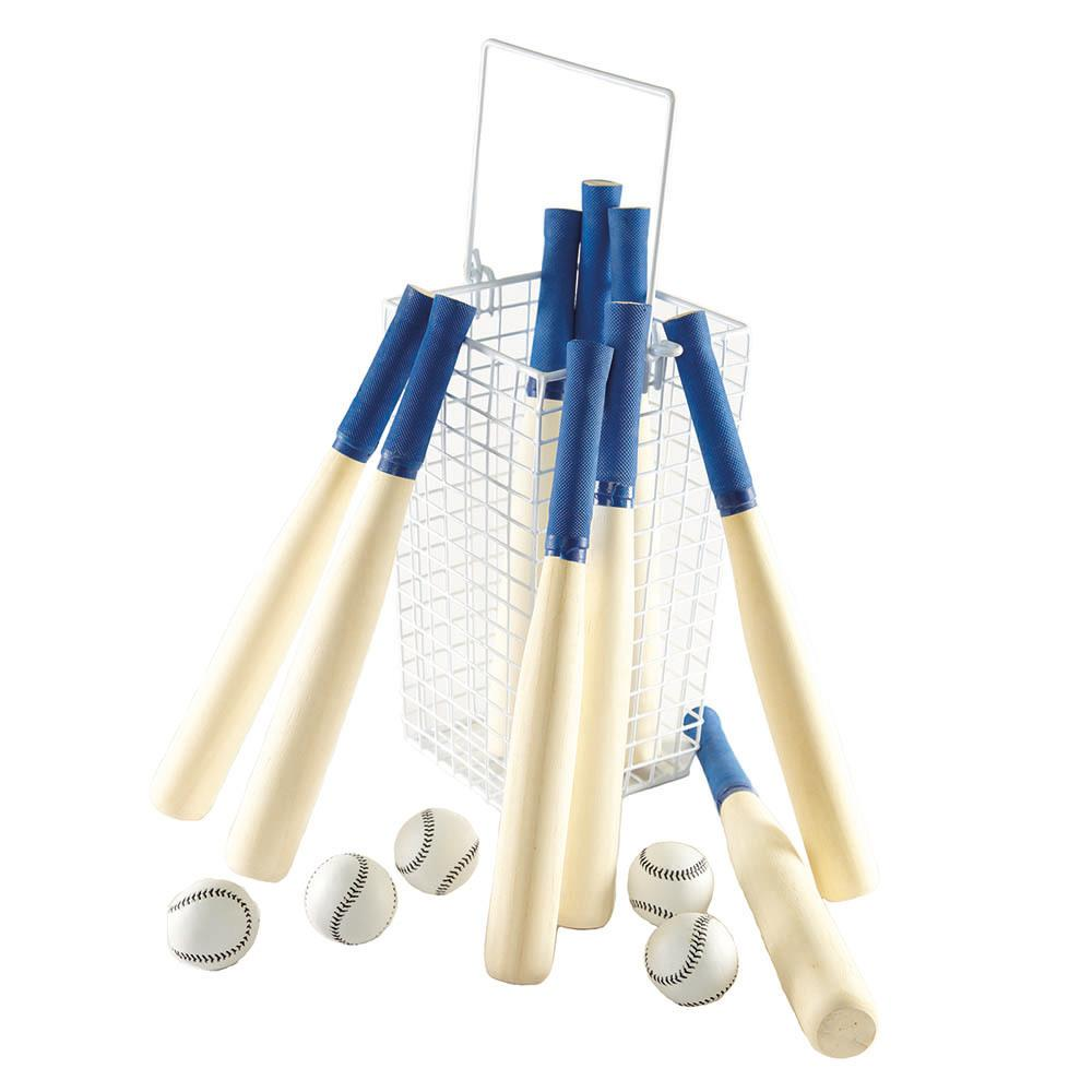 Rounders Kit 9 Bats, 5 Balls and 1 Basket