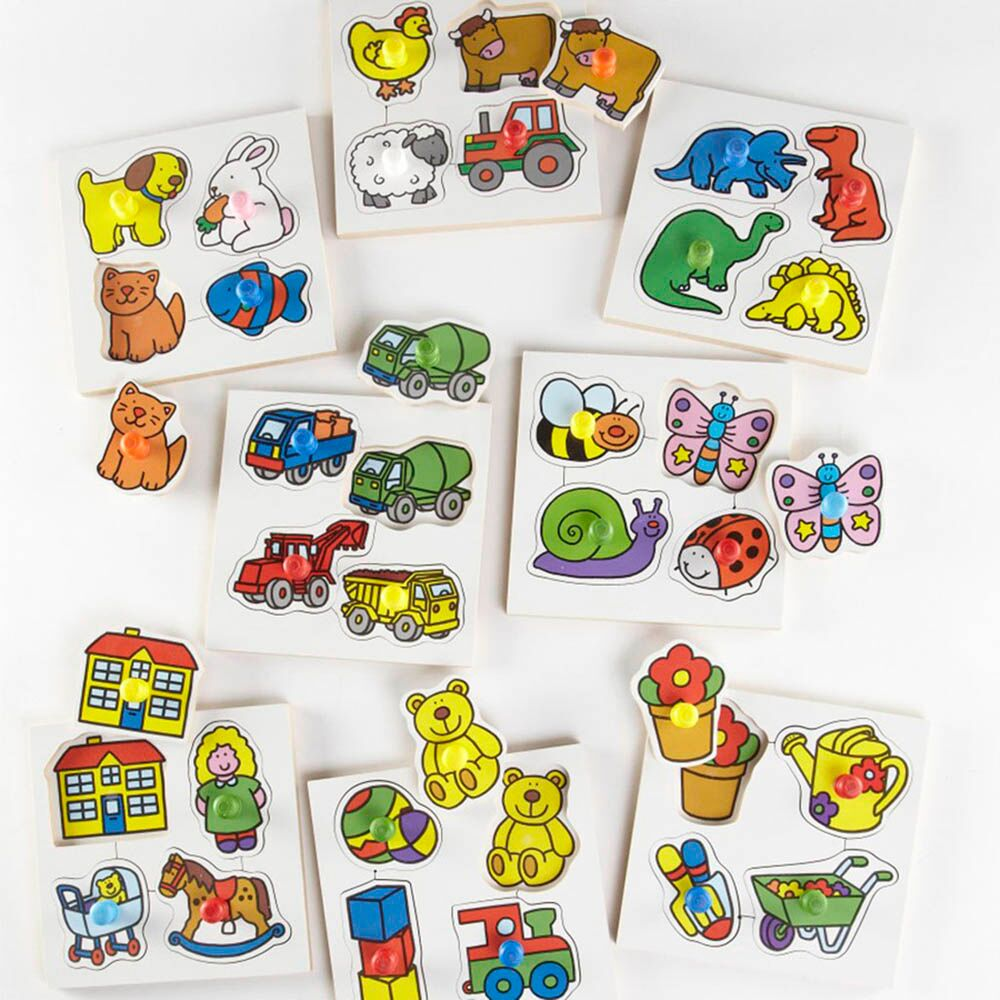 Wooden Large Peg Toddler Puzzle Boards Set 8pk