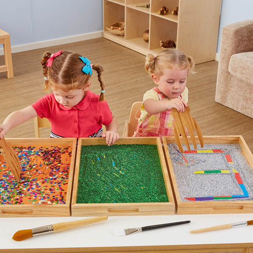 Wooden Sensory Mark Making Pattern Trays 3pk