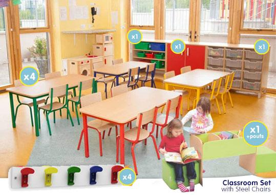 EASE Classroom with  Steel Chairs  34cm