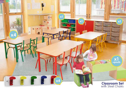 EASE Classroom with  Steel Chairs  26cm