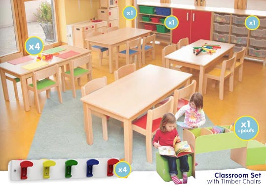 EASE Classroom with Timber chairs - All Heights