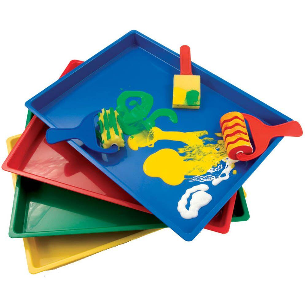 Plastic Coloured Mark Making Messy Art Trays 4pk