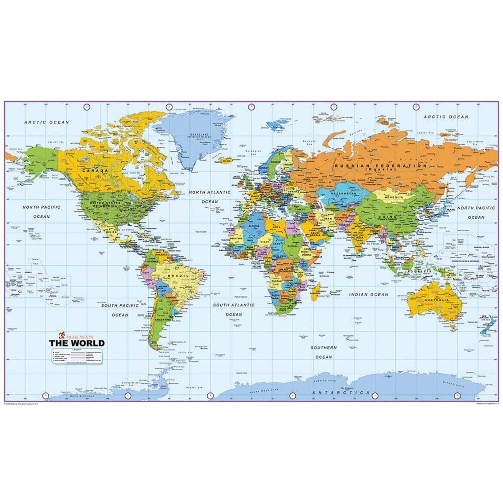 World Map Reversible Political and Physical A0
