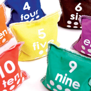 Multi Coloured Numbered Bean Bags 10pcs