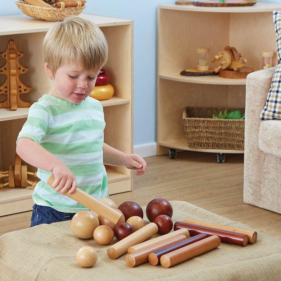 Wooden Cylinders and Balls for Babies 21pk