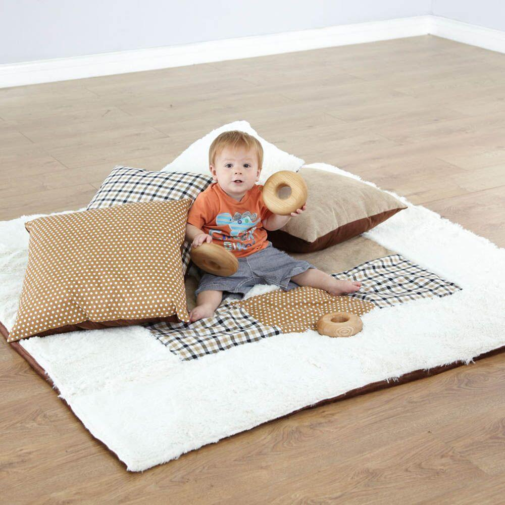 Baby Texture Blanket and Cushions Neutral Colours