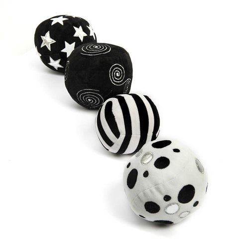 Black and White Soft Sensory Activity Balls 4pk