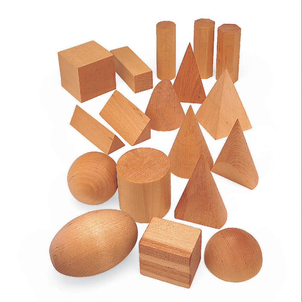 Geometric Solid Wooden Shapes 12pk