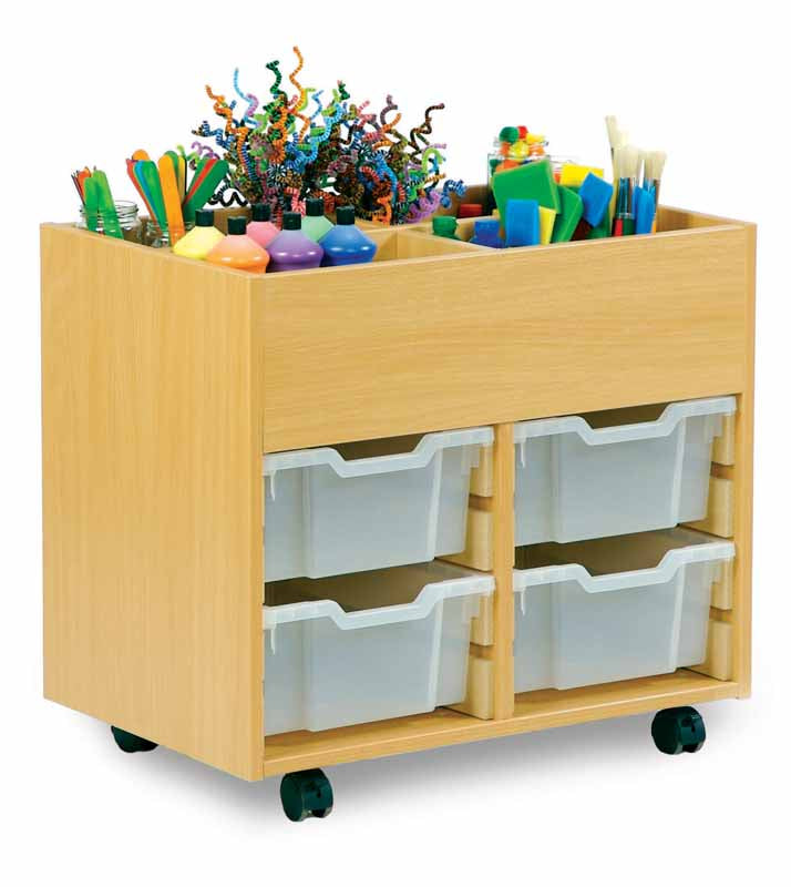 Small Art Storage Unit with top Storage and  4 Trays