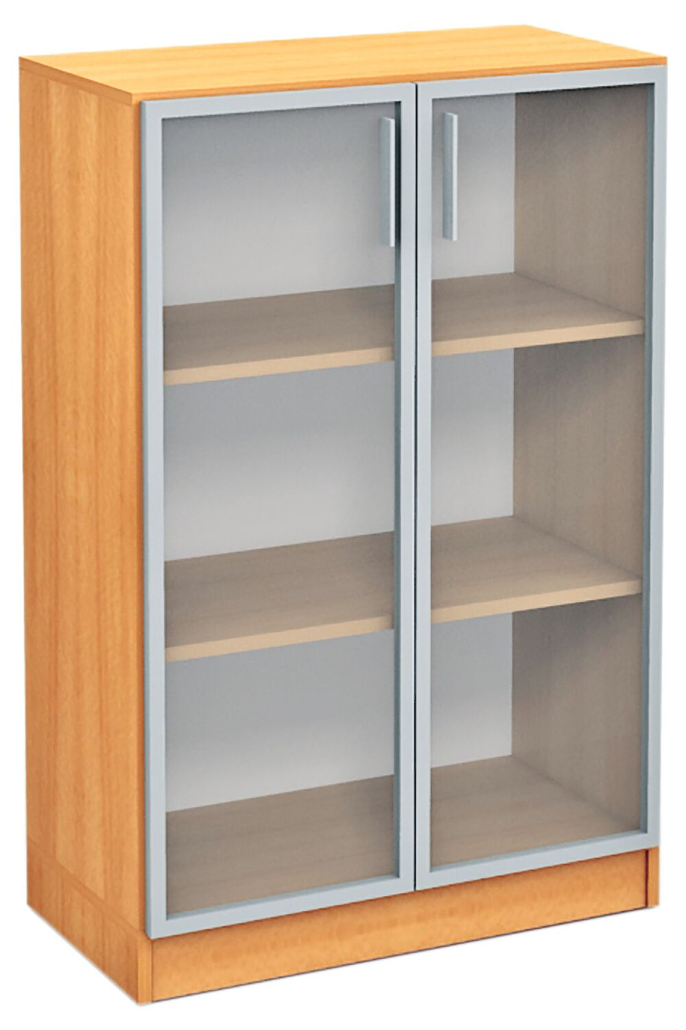Medium showcase in aluminum frame beech